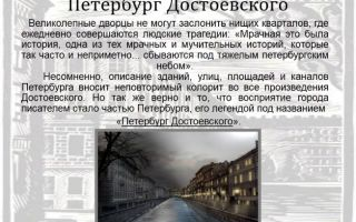 Сочинение образ петербурга рассказах достоевского