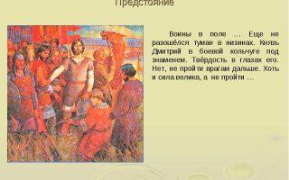 Сочинение по картине поле куликово ракши 5 класс описание
