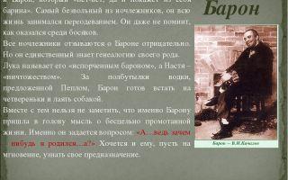 Характеристика и образ барона в пьесе горького на дне