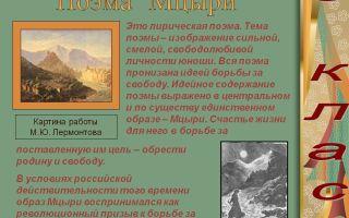 Анализ произведения мцыри лермонтова (поэмы)