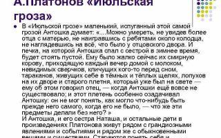 Анализ рассказа платонова июльская гроза