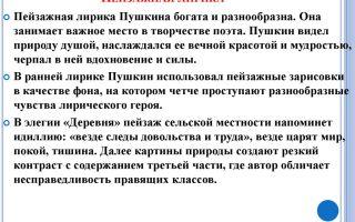Пейзажная лирика пушкина 9 класс сочинение