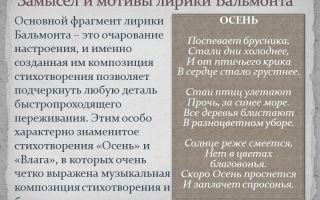 Основные темы и мотивы лирики бальмонта сочинение