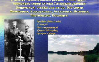 Сочинение хутор татарский в романе тихий дон шолохова