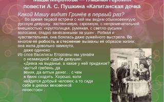 Характеристика и образ маши мироновой в повести капитанская дочка пушкина 8 класс