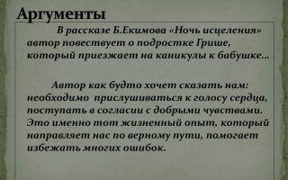 Анализ рассказа екимова ночь исцеления сочинение