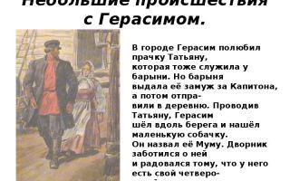 Сочинение на тему герасим и татьяна в рассказе муму тургенева