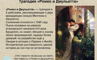 Сочинение по трагедии шекспира ромео и джульетта рассуждение