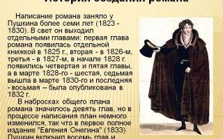 История создания романа пушкина евгений онегин
