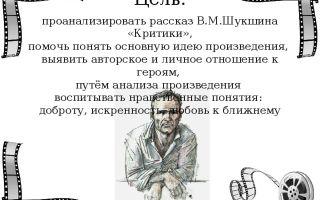 Анализ произведения критики шукшина