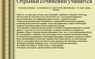 Сочинение на тему а зори здесь тихие… по повести васильева рассуждение